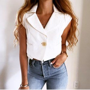 Leifsdottir White Cropped Short Sleeve Blazer Vest